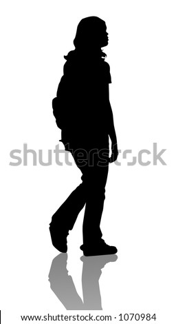 girl isolated with clipping path - stock photo