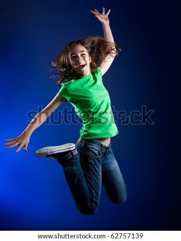 Girl jumping - stock photo