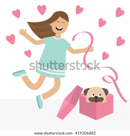 Girl jumping for joy. Gift box with puppy pug dog Happy child jump. Cute cartoon laughing character in blue dress holding ribbon.  Open giftbox. Smiling woman.  Isolated White background Flat  - stock photo