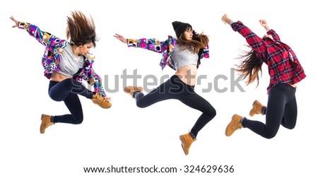 Girl jumping in hip hop style - stock photo