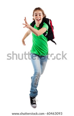 Girl jumping isolated on white background - stock photo