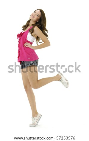 girl jumping over white - stock photo