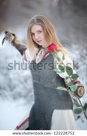girl knight - stock photo