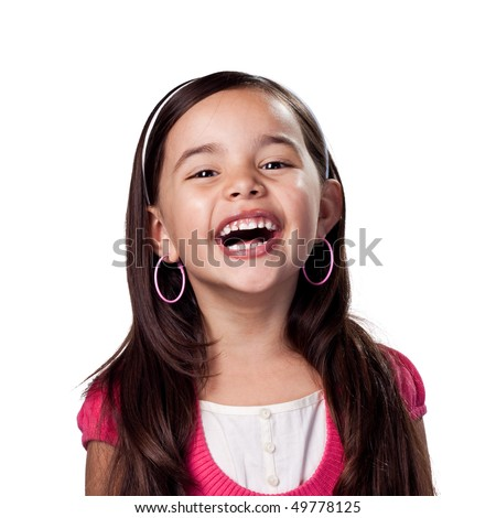 Girl laughing out loud - stock photo
