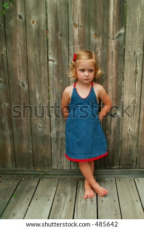 girl leaning on a wooden fence - soft focus - stock photo