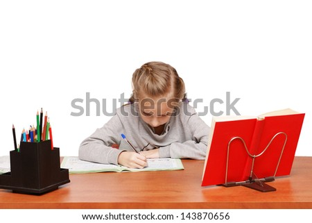 Girl learns lessons - stock photo