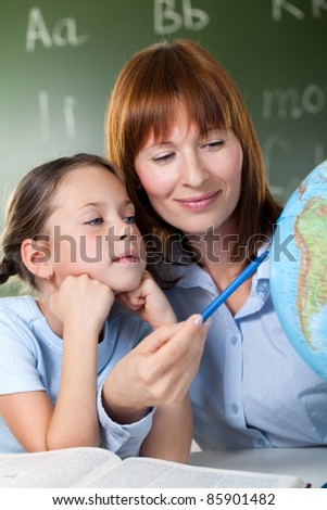 girl learns to be happy - stock photo