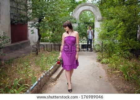 girl leaving her boyfriend - stock photo