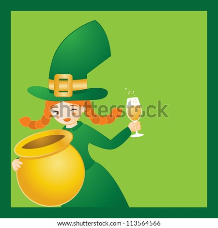 Girl Leprechaun in green with a wine glass and empty pot of gold