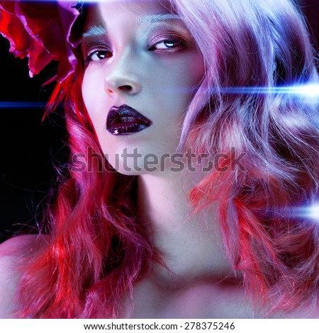 Girl like artificial person, an Android from the future. Beautiful girl with pink hair - stock photo
