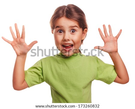 girl little pleased joyful surprise surprise spread her arms to sides isolated on white background large - stock photo