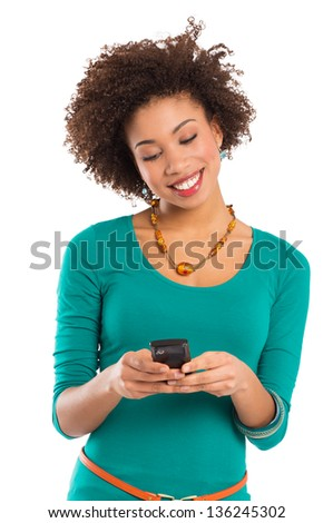 Girl Look and Writes on the Phone Isolated on a White Background - stock photo
