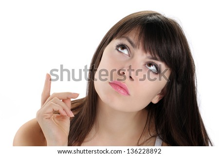 girl looking and pointing with eyes