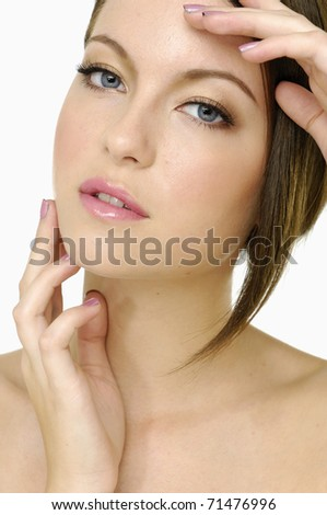 Girl looking at blank space - stock photo