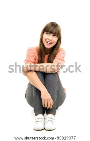 Girl looking up - stock photo