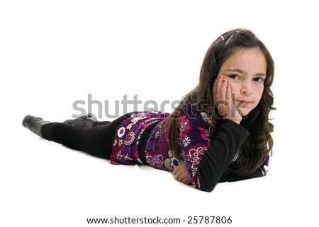 girl lying down isolated  on white background - stock photo