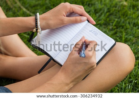 Girl making a plan for new year - stock photo