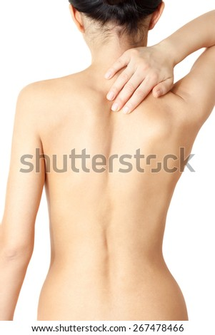 girl massaging sore neck and back