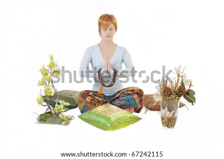 Girl meditating - stock photo
