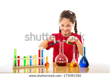 Girl mixes chemicals in a flask , isolated on white - stock photo