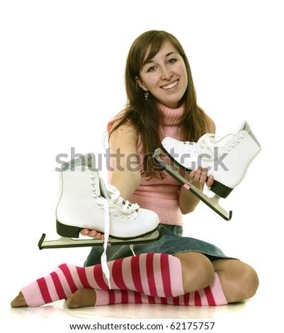 Girl offers skates - stock photo