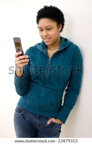 Girl on a cellphone. - stock photo