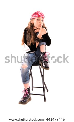 Girl on a chair on a white background