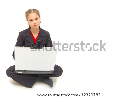 girl on a laptop - isolated over white background