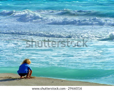 Girl on Beach - stock photo