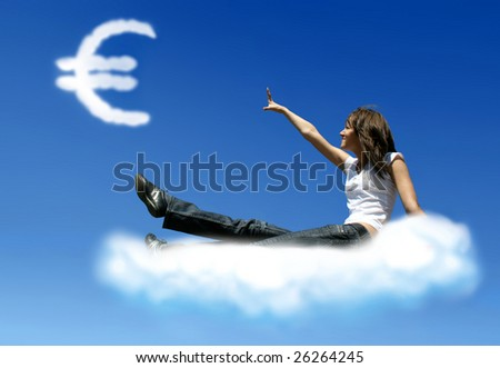 girl on cloud is trying to get a euro