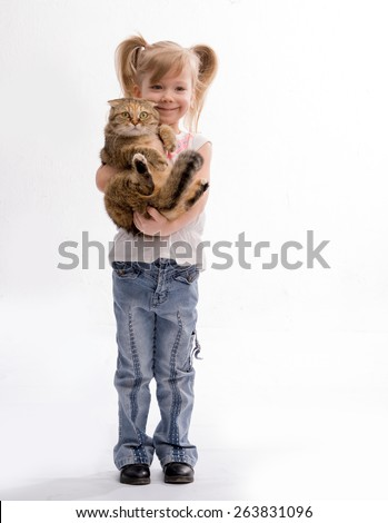 Girl on hands holding a thoroughbred, British cat - stock photo