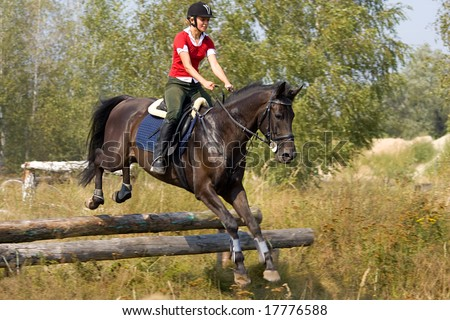 Girl on horse jumping over hurdle - stock photo