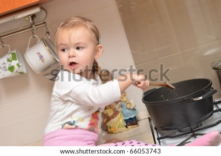 girl on kitchen