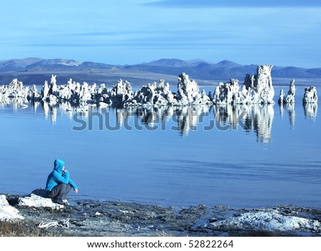 girl on Mono Lake - stock photo