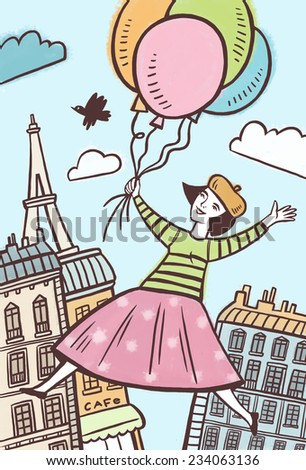 Girl on the balloons flying over Paris