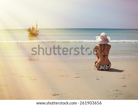 Girl on the beach of Phuket island, Thailand - stock photo
