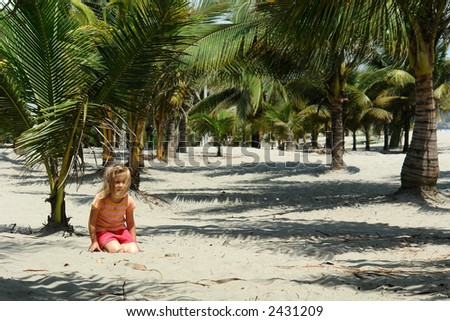 girl on the beach. pacific ocean. ecuador. south america - stock photo