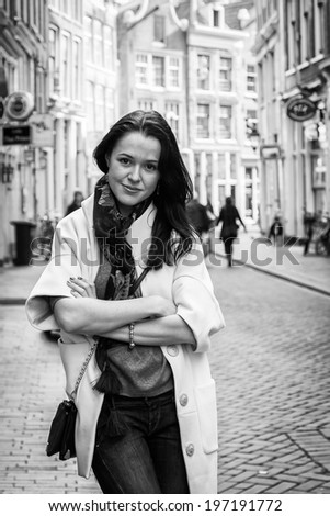 girl on the  city street bw - stock photo
