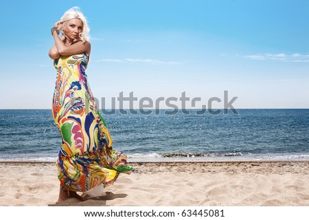 girl on the seashore - stock photo