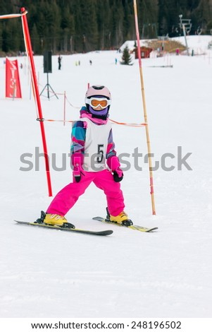 Girl on the ski - stock photo
