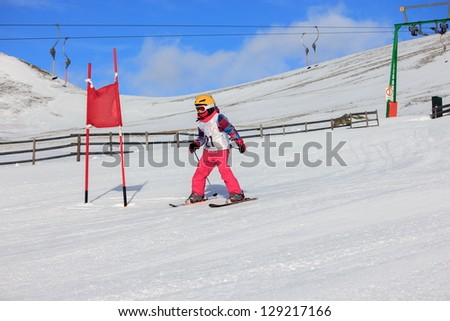 Girl on the ski race