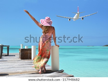 Girl on the wooden jetty. GreatExuma, Bahamas  - stock photo