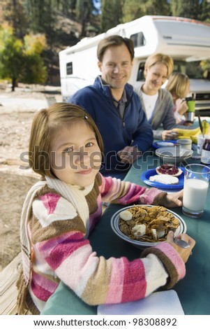Girl on Vacation with Her Family - stock photo
