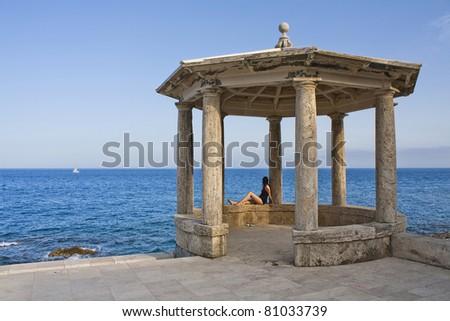Girl on viewpoint  of cami de ronda Josep Ensesa de S'Agaro (Costa Brava) - stock photo