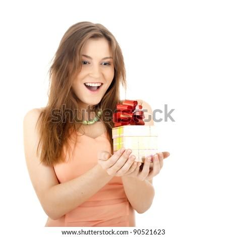 Girl opening  magic present - stock photo