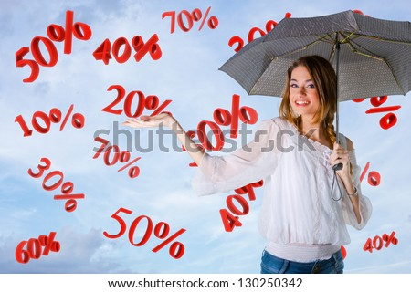 Girl over a sky background, percents falling - stock photo