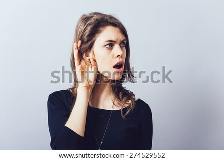 girl overhears - stock photo