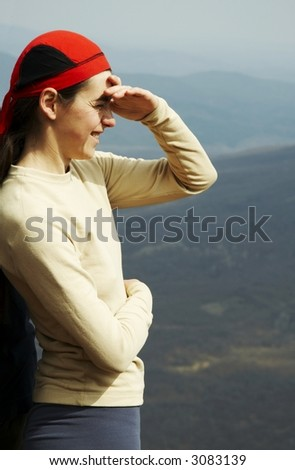 Girl overview landscapes - stock photo