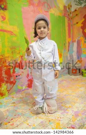 Girl painting - stock photo