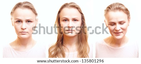 Girl passport photos collage on white background with different emotions. - stock photo